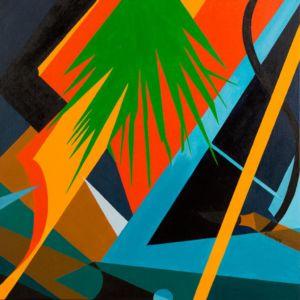Grand tableau cubiste, d'un paysage idyllique, au soleil couchant.