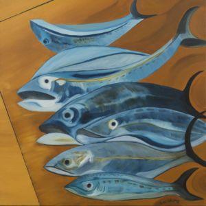 Tableau de pêche, avec poissons bleus, sur sable or orangé.