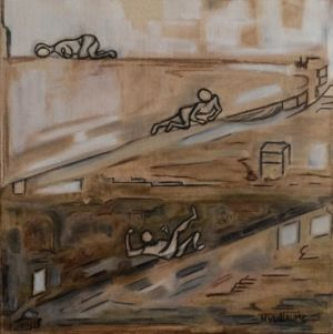 Petit tableau, en sépia, représentant le chemin vers le repos éternel.