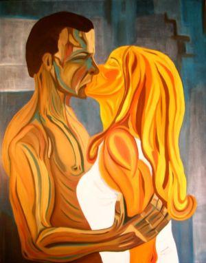 Tableau d'un couple, en plan rapproché, s'enlaçant.
