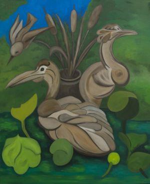 Plan d'eau, avec oiseaux au repos, et plantes aquatiques.