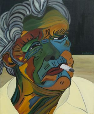 Portrait of an old man, smoking a cigarette, looking away.