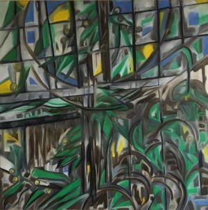 Tableau de mimosa, en fleurs, fenêtre en vitrail, avec ciel bleu, et givre.