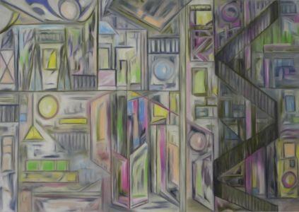 Tableau cubiste, architectural, d'un mobilier urbain, avec escalier à vis.