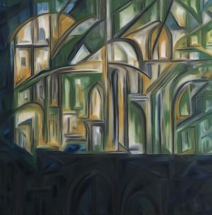 Peinture de la nativité, d'un édifice avec arches et fenêtres en ogives.