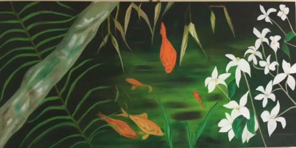 Peinture à l'huile, japonisante, aux poissons rouges, bambou et fleurs blanche.