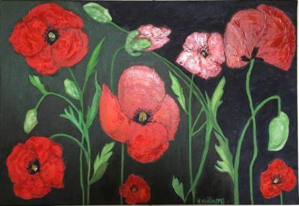 Nature morte aux coquelicots, fleurs sauvages, de couleur rouge sang, mémoire de guerre.