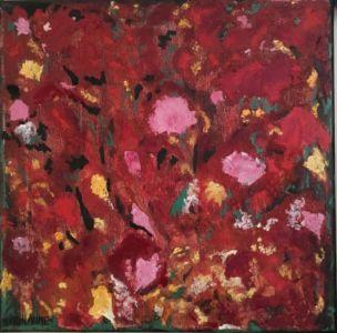 Toile d'essai, représentation florale, en été, à dominante de rouge.