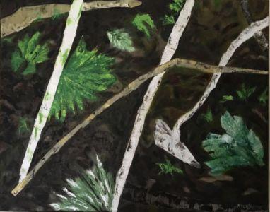Pochade, petit tableau réalisé à la peinture à l'huile, de fougères, et branchages.