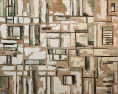 Composición mural abstracta que representa el paso del tiempo.