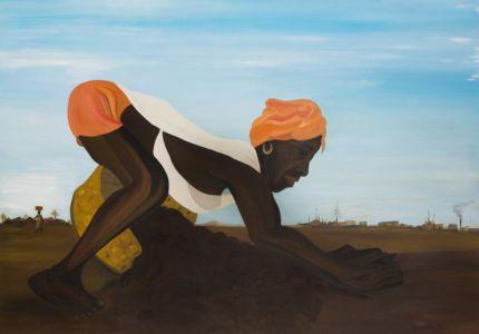 Scène rurale africaine représentant une femme travaillant la terre.