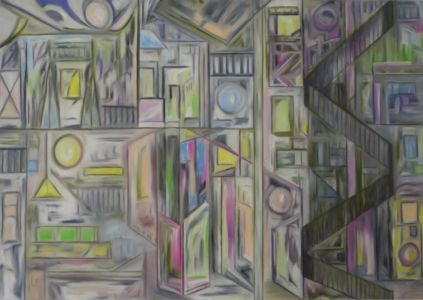 Cubist, architectural, urban furniture painting, with spiral staircase.