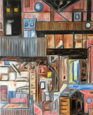 Pintura arquitectónica, lineal, interiores acogedores, con tonos sepia y anaranjados.
