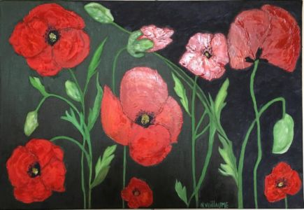 Still life with poppies, wild flowers, blood red, war memory.