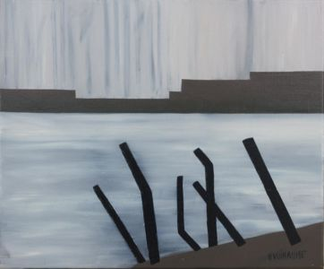 Monochrome, geometric painting of a river bank.