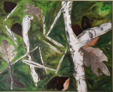 Knife-painting, made on the spot, of autumn leaves, moss and birch branches.