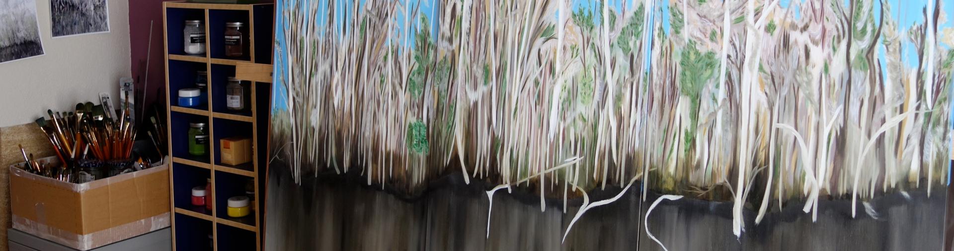 """""""Everglades Tour"""", triptyque, huile sur toile, format XXL"""
